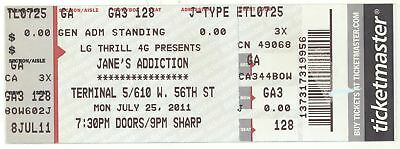 Rare JANES ADDICTION 7/25/11 New York City NY Terminal 5 Concert Ticket! NYC