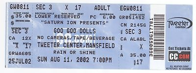 Rare GOO GOO DOLLS 8/11/02 Mansfield MA Concert Ticket! Boston GGD