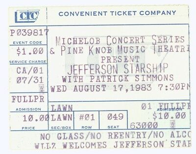 Jefferson Starship Patrick Simmons 8/17/83 Pine Knob Music Theatre Ticket Stub!