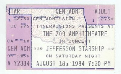 Jefferson Starship 8/18/84 Oklahoma City OK Concert Ticket Stub! Airplane OKC