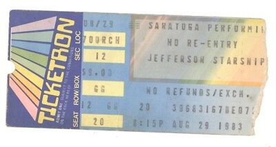JEFFERSON STARSHIP 8/29/83 Saratoga NY Perf AC Concert Ticket Stub! Airplane