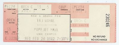 Rare TAJ MAHAL 2/24/82 Albuquerque NM UNM Popejoy Hall Concert UNUSED Ticket!