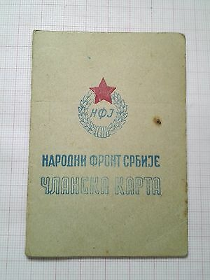 Yugoslav National Fronf Of Serbia Members Card