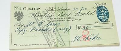 1958/59 cheques forBarclays Bank, Notting Hill,with 2 pence revenue stamp