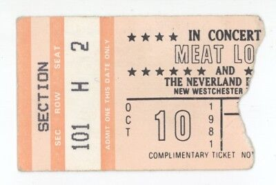 RARE Meat Loaf 10/10/81 New Westchester NY Concert Ticket Stub!