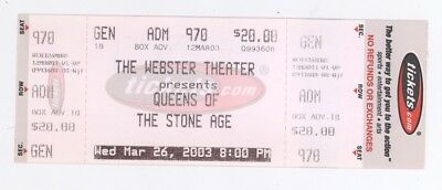 Rare QUEENS OF THE STONE AGE 3/26/03 Hartford CT Webster Thtr Concert Ticket!