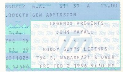 RARE John Mayall 2/2/96 Chicago IL Buddy Guy's Concert Ticket Stub!