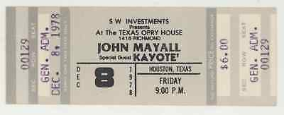 MEGA Rare JOHN MAYALL & KAYOTE 12/8/78 Houston Texas Opry House Concert Ticket!