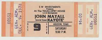 MEGA Rare JOHN MAYALL & KAYOTE 12/9/78 Houston Texas Opry House Concert Ticket!