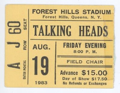 The Talking Heads 8/19/83 Queens NY Forest Hills Stadium Ticket Stub! NYC