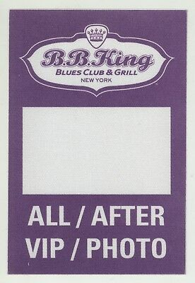 NYC BB KING Blues Club & Grill ALL AFTER VIP/PHOTO Unused Backstage Pass!