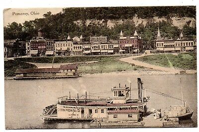 "Pomeroy Ohio 1913 ""super Awesome""--Aerial View--With Steamers At The Dock View~~"