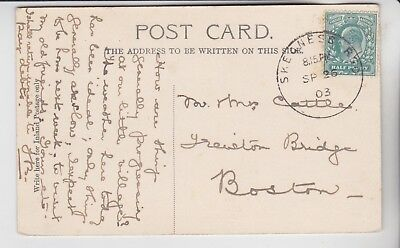 Gb Stamps 1903 Postcard With Skegness Skeleton Pmk Rares Collection