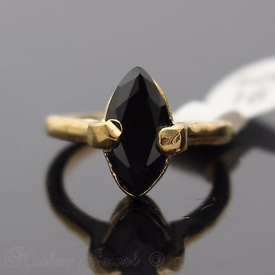 Beautiful Black Marquise Cut Cz Yellow Gold Plate Ring Size 6.5 Small Fingers