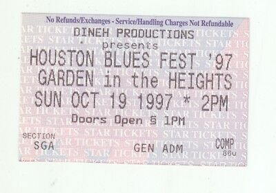 GE Smith Kenny Neal Johnny Brown 10/19/97 Houston Blues Fest Ticket Stub!
