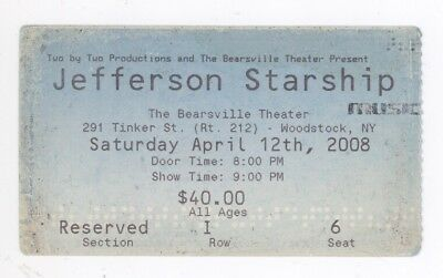RARE Jefferson Starship 4/12/08 Woodstock NY Concert Ticket Stub! Airplane
