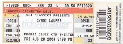 CYNDI LAUPER 8/20/04 Peoria IL Civic Center Theater CANCELLED Concert Ticket!