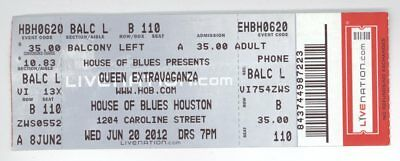 Rare QUEEN EXTRAVAGANZA 6/20/12 Houston HoB Concert Ticket! Tribute Band