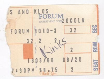 RARE The Kinks 10/10/80 Los Angeles CA The Forum Concert Ticket Stub!