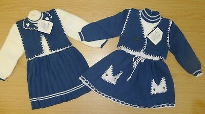2 VINTAGE 1970's UNWORN KNITTED DRESSES AGE 2 YEARS PETROL BLUE/CREAM