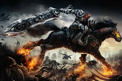 darksiders GAME FIGURE poster FLAMING HORSE SWORD headless man riding 24x36- SY1
