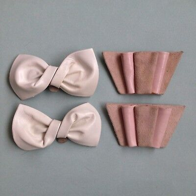 2 Pairs Vintage 1980s Shoe Clips - 1 White & 1 Pink - Vintage Shoe Accessories