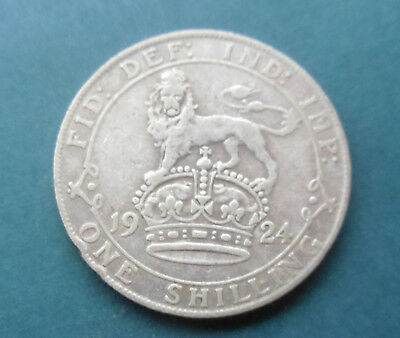 1924 King George V 1 One Shilling Silver Coin