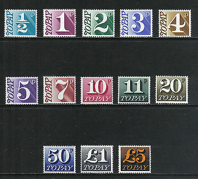 Great Britain 1970-75 Postage Dues (J79-91) MNH