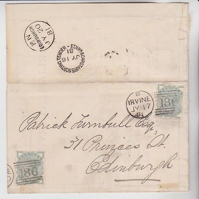 Gb Stamps 1881 Wrapper Irvine To Edinburgh Rares Collection