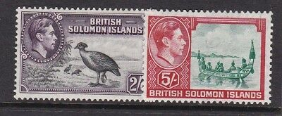 BRITISH SOLOMON ISLANDS 1939 KGVI 2/6d AND 5/- MINT