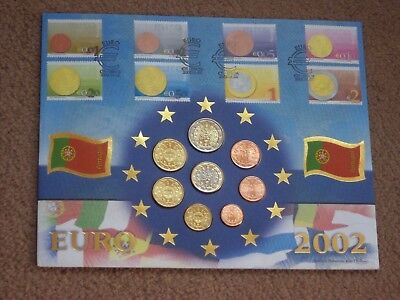 BENHAM PORTUGAL2002 FIRST DAY EURO  Coin COVER with Set of 8 New EURO Coins UNC