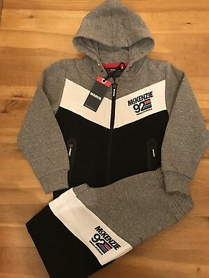 Boys McKenzie Hooded Tracksuit Age 4-5 BNWT Grey With Mixed Colour Detail