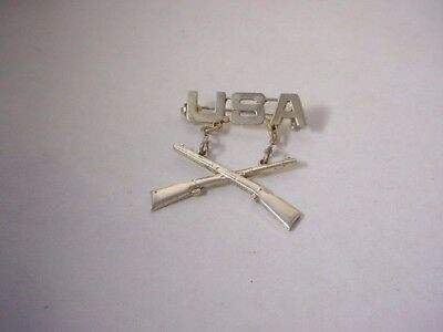 Vintage Antique Sterling Silver Usa Army Military Infantry Double Rifle Pin