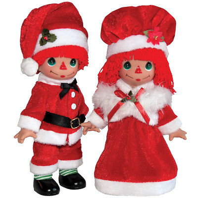 NEW (Set) Precious Moments Christmas Raggedy Ann And Andy Mr And Mrs Claus Dolls