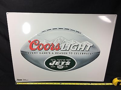 """Coors Light Beer Sign New York Jets Football 24"""" X 18"""" Sports Bar Man Cave Pub"""