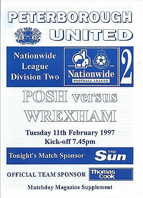 PETERBOROUGH UNITED v WREXHAM  - 11th February 1997 - rearranged from 28th Dec
