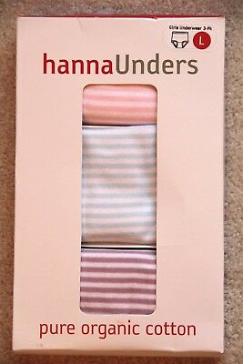 New Hanna Andersson Girls Classic Unders 3 Pk Stripes Cotton Underwear L 140-150