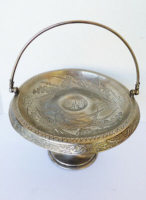 VTG Meriden CO. Silverplate Bridal Cake Floral & Butterfly Footed handle basket