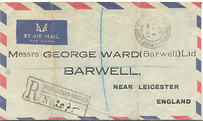 Mauritius 1958 Registered commercial airmail cover to Barwell
