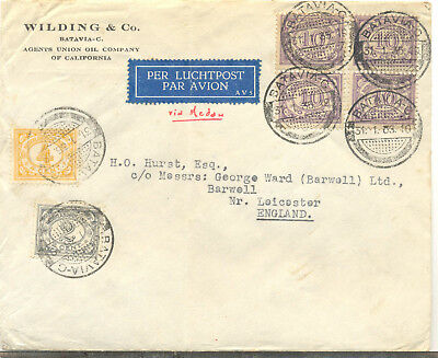 Netherlands Indies 1935 commercial airmail cover from Batavia to the uK