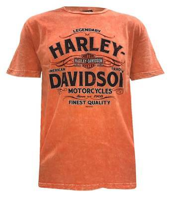 Harley-Davidson Men's Vintage Tradition Premium Short Sleeve T-Shirt, Orange