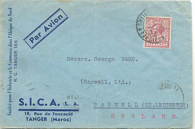 British Post Office in Tangier 1937 commercial airmail cover to Barwell