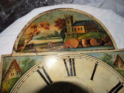 ANTIQUE LONG CASED CLOCK FACE,HAND PAINTED COUNTRY SIDE SCENES,COLLECTABLE c1840