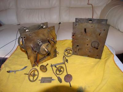 Antique Brass Grandfather Clock Movements & Parts,original Condition.