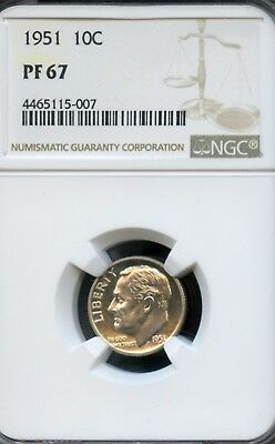 Amazing 1951-P NGC PF67 Roosevelt Dime 10C Coin VL12