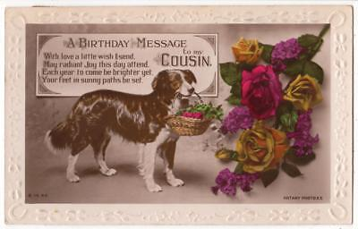 Vintage Rp Postcard, Birthday,dog Carrying Basket Of Flowers,rotary,1925