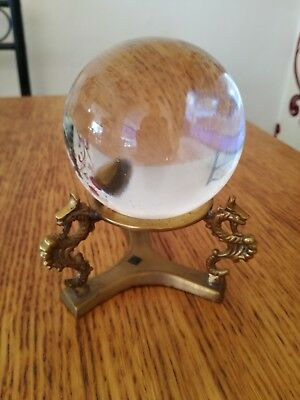 Solid Crystal Ball On Brass Stand