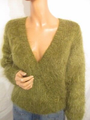 Vintage 12/14 Hand Knit Green Fluffy Mohair Wool Wrap Crossover Cardigan Jumper