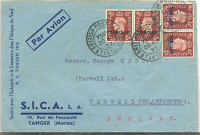 British Post Office in Tangier 1937 airmail cover to England