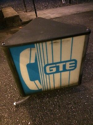 Vintage Rare GTE Payphone Booth Sign Triangle Topper Lit Lighted Bubble 3-sided